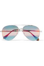 Aviator-style silver-tone mirrored sunglasses