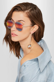 Cutler and Gross Aviator-style silver-tone mirrored sunglasses