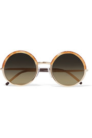 Cutler and Gross Round-frame glittered acetate, gold-tone and leather sunglasses