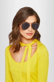 Loop aviator-style gold-tone sunglasses