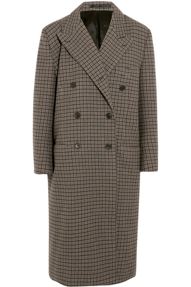 Balenciaga - Oversized Double-breasted Checked Wool Coat - Brown
