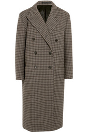 Oversized double-breasted checked wool coat