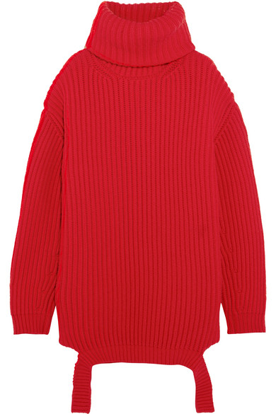 Balenciaga - Oversized Ribbed Wool Turtleneck Sweater - Red at NET-A-PORTER