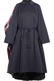 Convertible cotton-twill, plaid wool-blend felt and pleated crepe coat