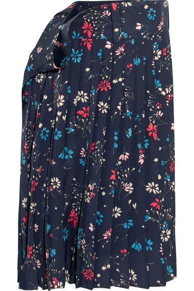 Balenciaga - Tubular Pleated Floral-print Crepe Midi Skirt - Navy at NET-A-PORTER