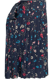 Tubular pleated floral-print crepe midi skirt