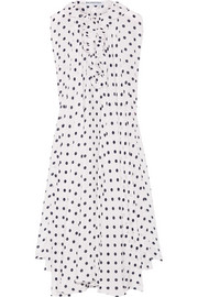 Balenciaga Asymmetric polka-dot silk crepe de chine top