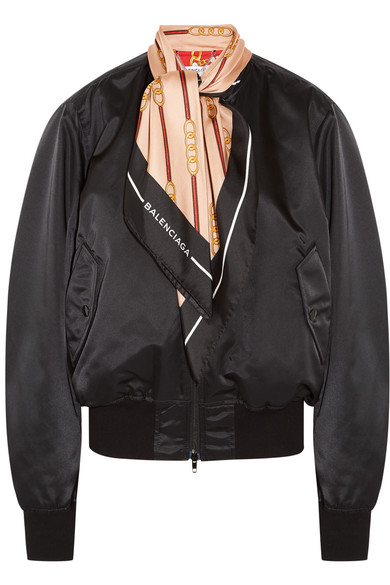 Balenciaga - Silk Twill-trimmed Shell Bomber Jacket - Black at NET-A-PORTER