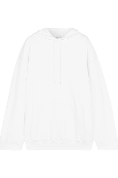 Balenciaga - Oversized Printed Cotton-jersey Hooded Top - White at NET-A-PORTER