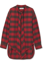 Swing oversized printed checked cotton-flannel shirt