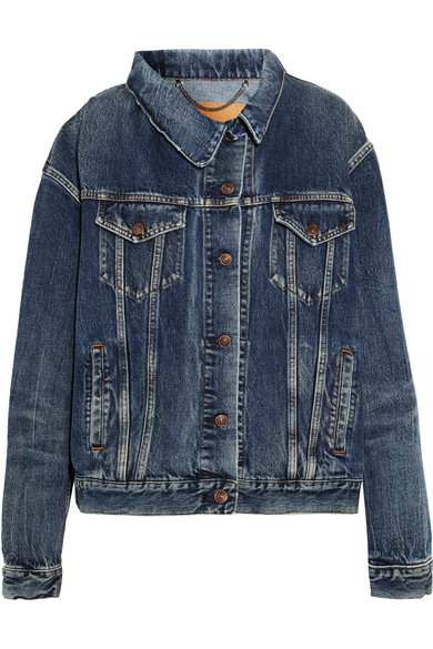Balenciaga - Asymmetric Denim Jacket - Mid denim at NET-A-PORTER