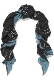 Panther printed cashmere and silk-blend scarf