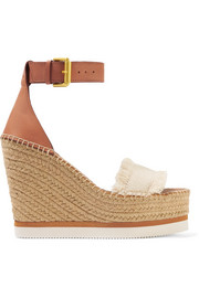 See by Chloé Fringed canvas and leather espadrille wedge sandals