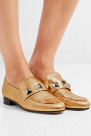 Valentino Rockstud metallic textured-leather loafers