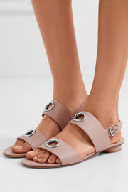 Eyelet-embellished leather sandals