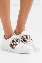 Valentino Elaphe-paneled leather sneakers