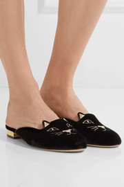 Charlotte Olympia Kitty embroidered velvet slippers
