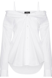 Theory Tamalee off-the-shoulder cotton-poplin shirt