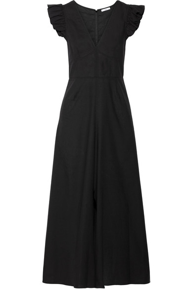 TOME - Ruffle-trimmed Cotton-voile Midi Dress - Black