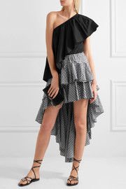 Giulia asymmetric ruffled gingham cotton skirt