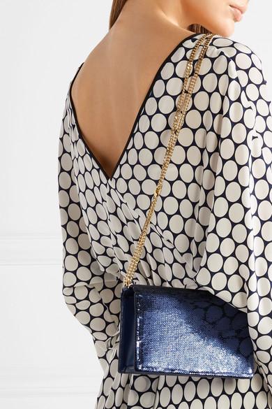 Diane von Furstenberg Soirée Schultertasche aus paillettenverziertem Leder
