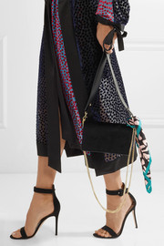 Diane von Furstenberg Soiree embellished velvet and leather shoulder bag