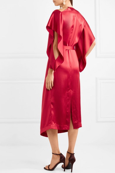 Roland Mouret From Serena Strapless Wrap Dress Silk Satin