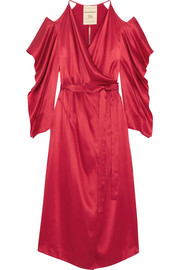 Serena cold-shoulder silk-satin wrap dress