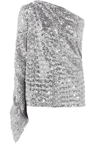 Roland Mouret - Kara One-shoulder Sequined Stretch-knit Top - Silver