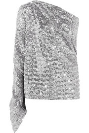 Kara one-shoulder sequined stretch-knit top