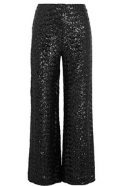 Ailish sequined mesh wide-leg pants