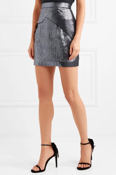 Roland Mouret Rocko Miniskirt From Lurex® In Metallic Optics