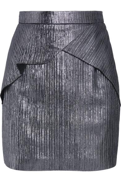 Roland Mouret - Rocko Metallic Lurex Mini Skirt - Silver