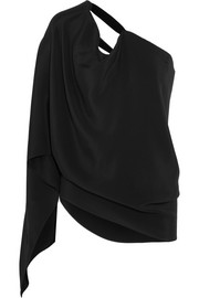 Roland Mouret Kara one-shoulder velvet-trimmed silk-satin top