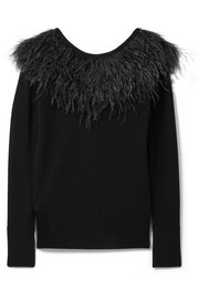 Feather-trimmed merino wool sweater