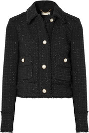 Cropped frayed metallic wool-blend tweed jacket