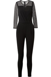 Point d'esprit tulle and stretch-jersey jumpsuit