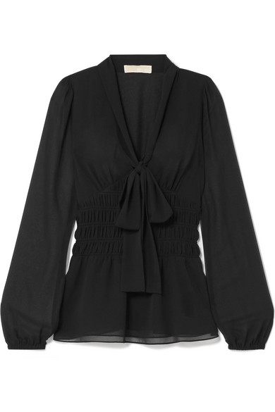 MICHAEL Michael Kors - Pussy-bow Shirred Georgette Blouse - Black
