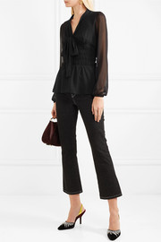 MICHAEL Michael Kors Pussy-bow shirred georgette blouse