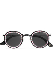 Vic embellished round-frame metal and faux leather sunglasses