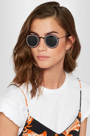 Freda Banana Vic embellished round-frame metal and faux leather sunglasses