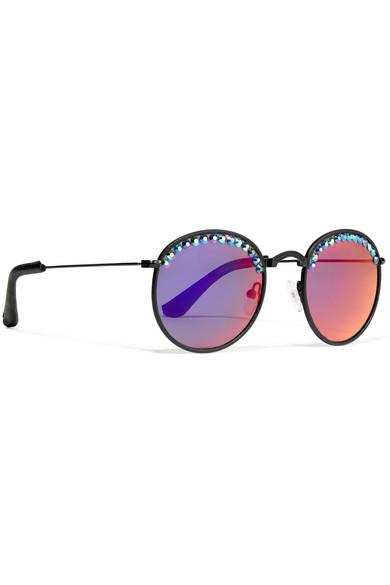 Nas Crystal-embellished Round-frame Mirrored Sunglasses - Black Freda Banana xinm2