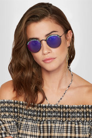 Nas crystal-embellished round-frame mirrored sunglasses