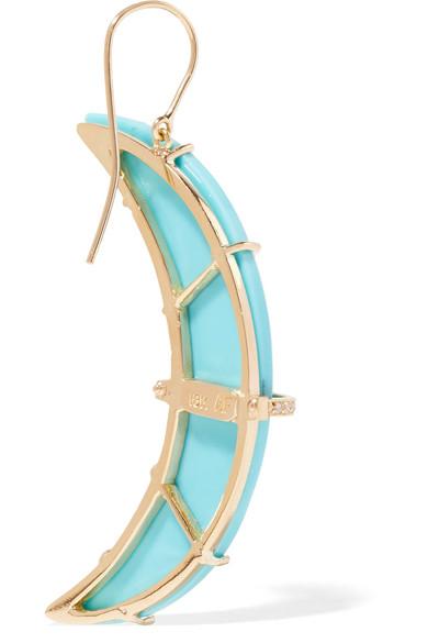 Andrea Fohrman Crescent Moon 18-karat Gold Turquoise Earrings MaOkH