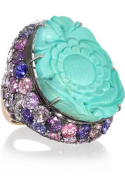 Fille du Ciel 18-karat blackened white gold, turquoise and sapphire ring