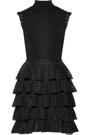Alice + Olivia Janice tiered ruffled stretch-knit mini dress
