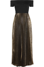 Alice + Olivia Ilana off-the-shoulder stretch-jersey and plissé-lamé dress