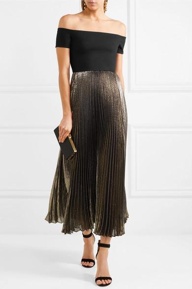 Alice + Olivia Ilana schulterfreies Kleid aus Stretch-Jersey und plissiertem Lamé