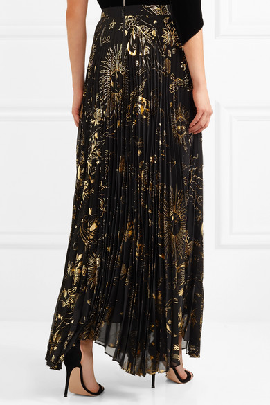 46be56c840 Alice + Olivia. Shannon pleated metallic printed chiffon maxi skirt. £354.  Play