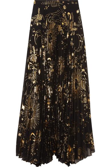 Alice Olivia - Shannon Pleated Metallic Printed Chiffon Maxi Skirt - Gold